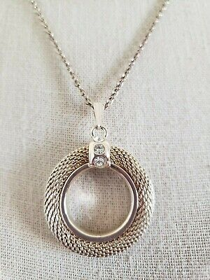 Women's Round Textured Woven Circle Pendant Necklace On Adjustable Chain Woven Circle Pendant