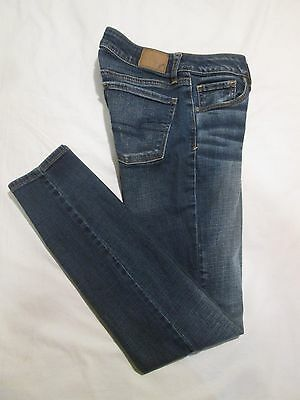 (*.*) AMERICAN EAGLE * Womens Stretch SKINNY Blue Jeans / Denim * Size 2 R