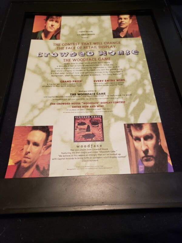 Crowded House Woodface Rare Original Radio Promo Poster Ad Framed!
