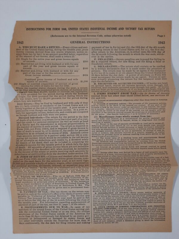 TAX RETURN INSTRUCTIONS 1943 1040 Form Help Guide WWII