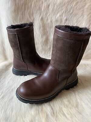 Ugg Australia Womens Boots Size 9 US Brooks Leather Winter Snow Brown 5381