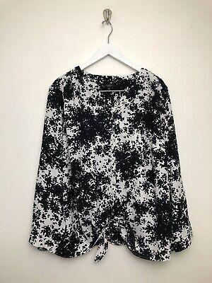 Womens Talbots Blouse Shirt Top Plus Size 3XP Black White Tie Button Front Sleev Black Womens Tie