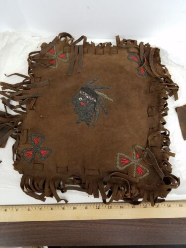 EARLY 1900s OJIBWE OR CHIPPEWA SUEDE BEADED PILLOW