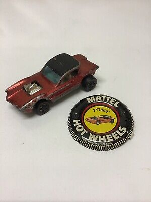 Hot Wheels Redline Python 1967 Red Made in Hong Kong With Button