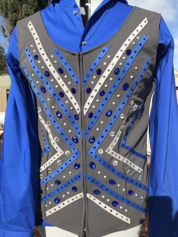 Western pleasure horsemanship Trail horse show vest Blue Silver & Gray