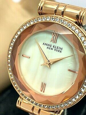 Anne Klein Women's Watch 12/2316 Rose Gold Tone Crystals Pinkish Ceramic Set