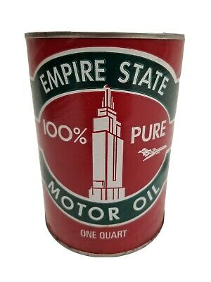 VTG NOS Unopened Empire State Motor Oil 1 Quart Full Can Gas & Oil Advertising