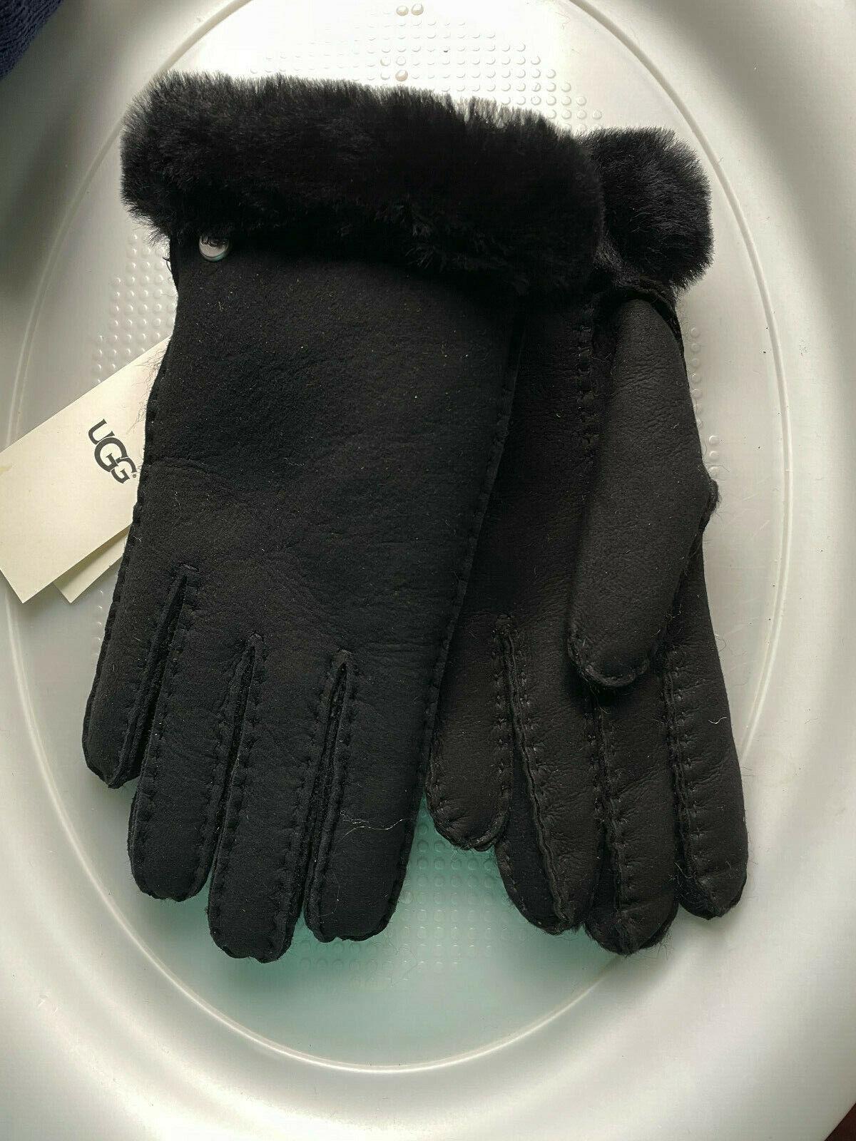 UGG SHEEPSKIN Glove W FUR 15108 WOMENS SIZE M MEDIUM BLACK NEW *Z17*