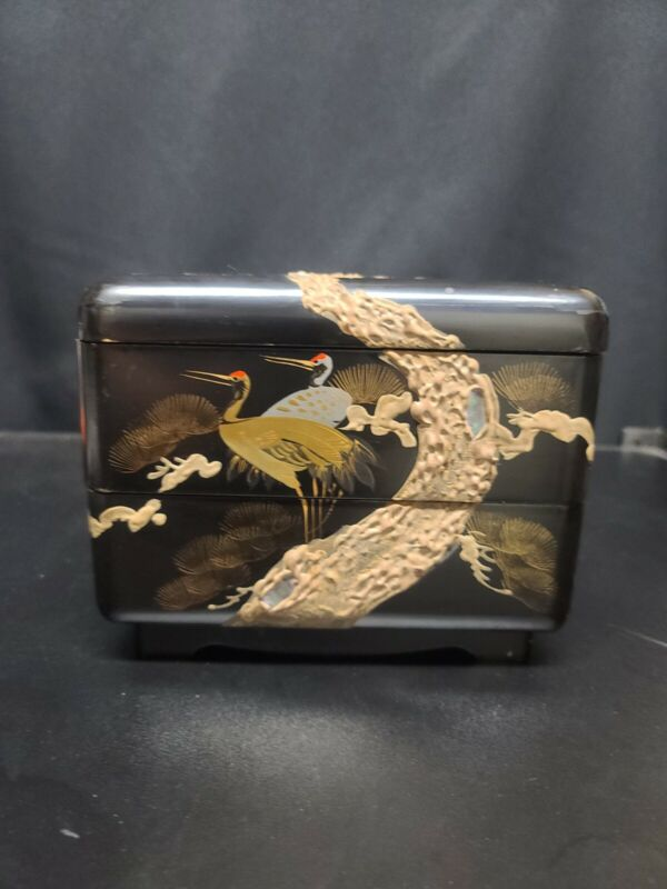 Vintage Japanese Lacquer Longevity Cranes Two Tier Stack Lunch Bento Box