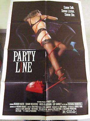 Vintage 1 sheet 27x41 Movie Poster Party Line 1988 Richard Hatch Greta Blackburn