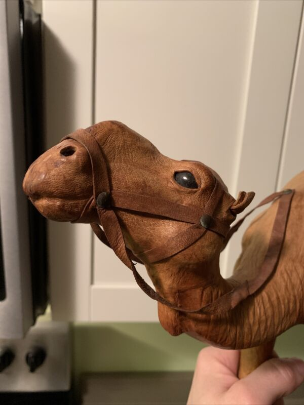 "LARGE  13"" Vintage Leather Wrapped Camel Figure Home Decor"