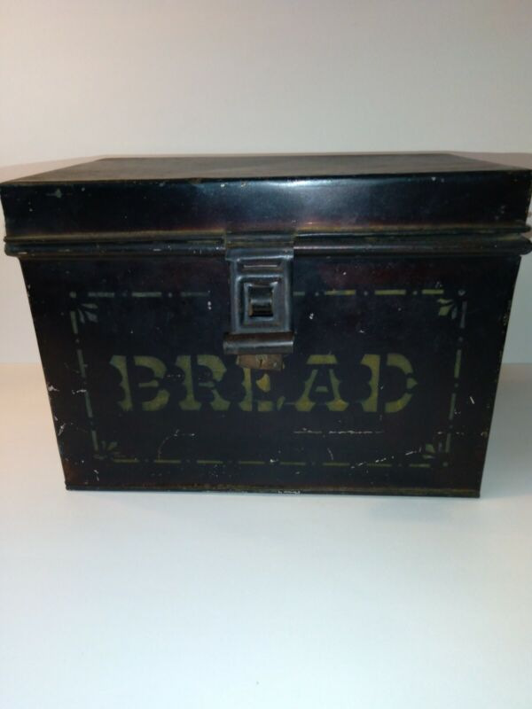 Antique Tin Metal Stenciled Bread Box No Reproduction with Lock