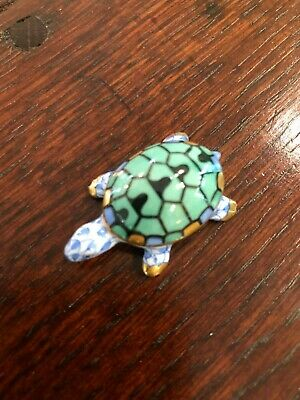 DARLING Herend Blue Fishnet Turtle Tortoise Figurine MINT! Baby Gift