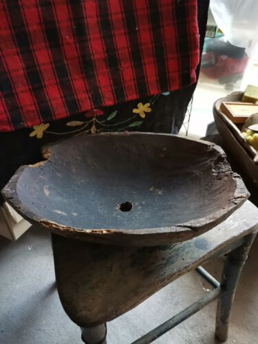 xxl primitive old wooden carved bowl wine production 1800