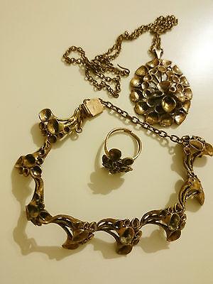 Rennmoosblüte Finnland Bronze Schmuckset Anhänger + Kette + Ring + Armband(1019)