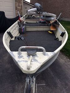 14' aluminum boat with trail 15hp motor