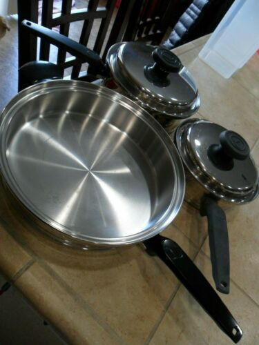 "5 PC ""LIFETIME"" 5 PLY STAINLESS STEEL PANS #T304 11""SKILLET, 8 1/2""& 7 1/2"" PANS"
