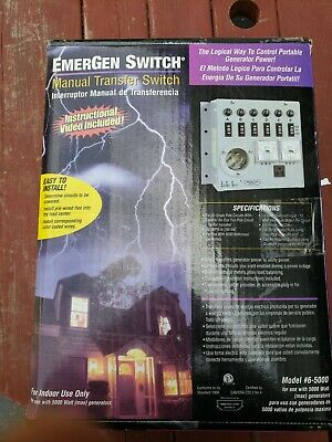 Emergen Switch 6-5000 Manual Generator Transfer Switch Panel 120 20a Nib