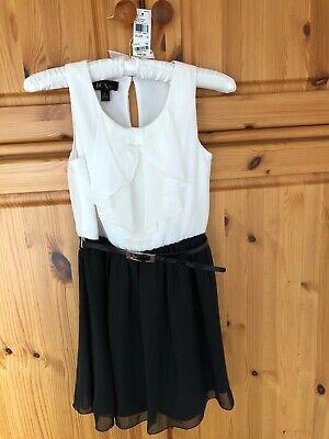 BCX Girl KLEID Gr. 140 schwarz/weiß  mit Rüsche und Etikett $ 58,00 aus USA