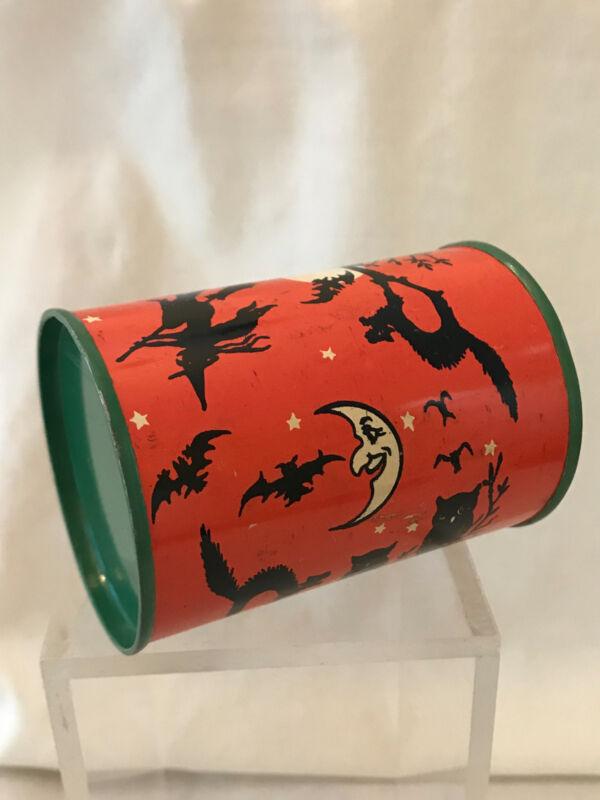 Vintage T. COHN Halloween Tin Litho Black Cat, Owl Rachet Noisemaker