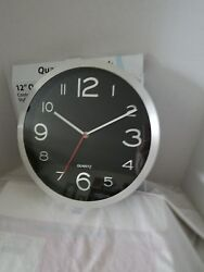 12 Quartz wall clock contemporary stylish design silver finish frame.