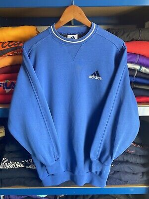 Rare Vintage 90's Adidas Small Spell Out Sweatshirt Blue GB 34-36