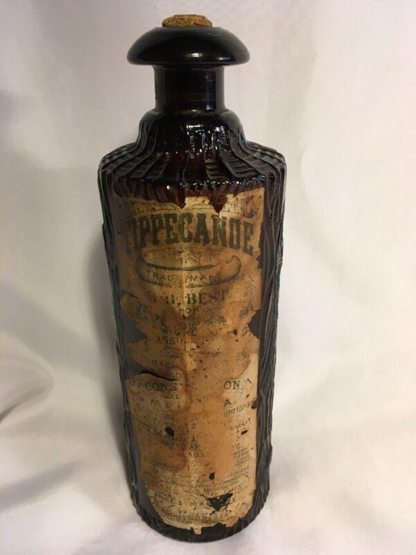 RARE TIPPECANOE DYSPEP BOTTLE w LABEL WARNER FIGURAL LOG BITTERS BOTTLE 1883