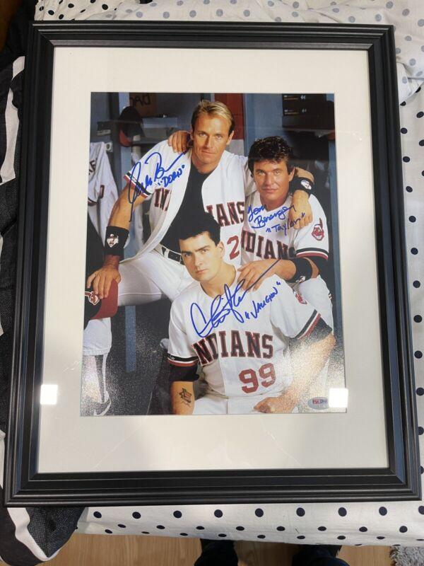 Charlie Sheen Berenger & Bernsen Signed Major League 11x14 Photo Framed Psa/dna