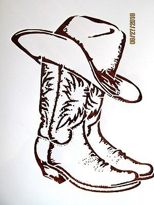 Cowboy Boots and Hat Stencil / Template Reusable 10 mil Mylar (Cowboy Hat And Boots)