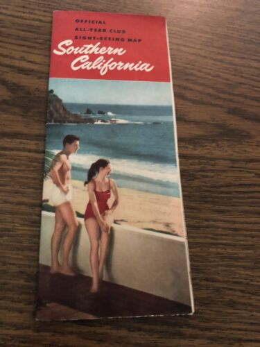 Vintage 1953 Pictorial Map SOUTHERN CALIFORNIA Sight-Seeing All Year Club - $5.00