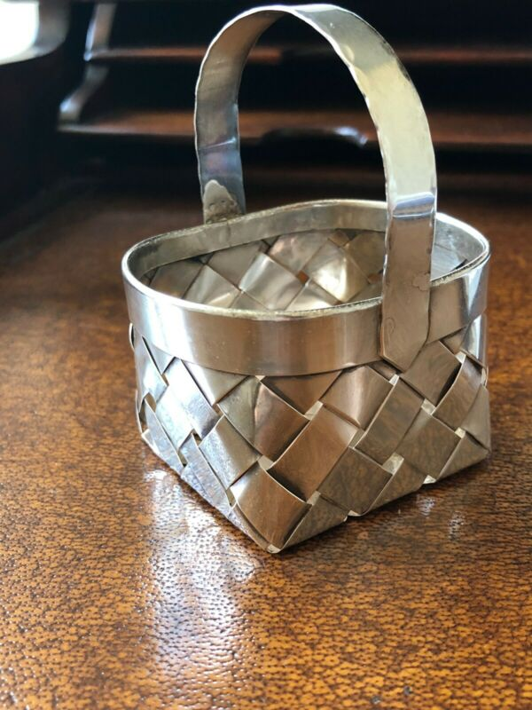 Vintage CARTIER Sterling Silver Woven Basket With Handle HAND MADE