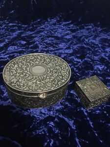 Set of two sterling silver plated  jewelry boxes