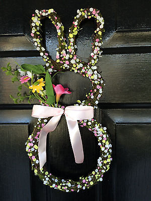 """Natural Grapevine Silk Flowers Easter Bunny 16"""" Wreath Wall Decoration NEW"""
