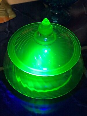 "Vintage 6"" Tall Uranium Vaseline Glass Swirl Design Candy Dish"