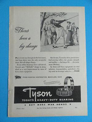 "VINTAGE ADVERTISEMENT ORIGINAL 1944 WWII ""ALL ROLLS"" TYSON BEARING CORP. - GOLF"