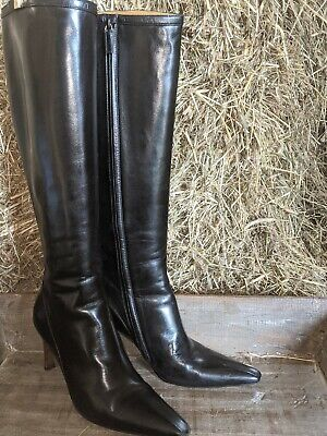 Vintage GUCCI Black Leather Knee High Boots Heels Shoes Women's Size 7.5