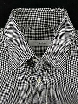 ERMENEGILDO ZEGNA 38 15 Regular Fit Cotton Houndstooth Black White Dress Shirt ()