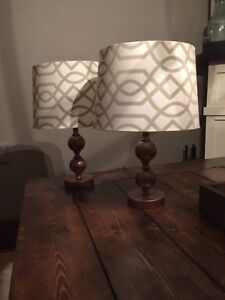 Cooper Base Lamps with Shades. Set of 2.