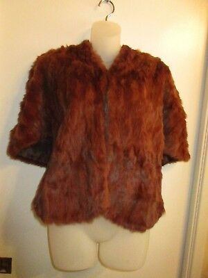 Vintage Fur Shawl Wrap Chocolate Brown Mink Rabbit Cover Up Winter Warm Chic for sale  Pasadena