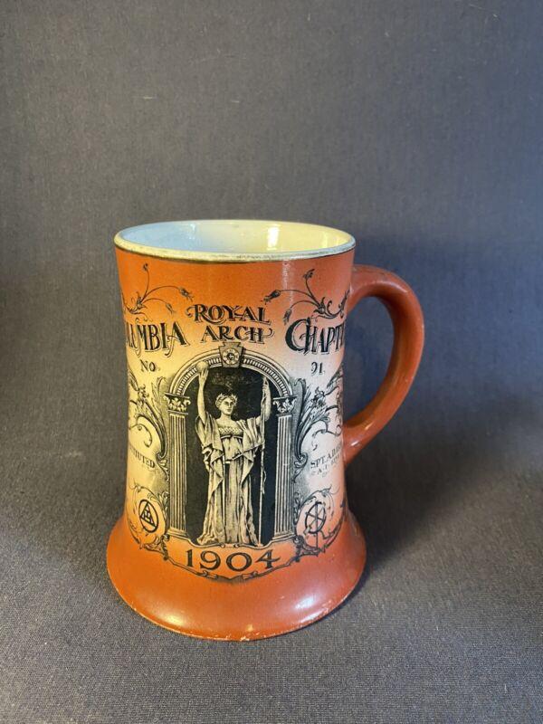 "Rare 1904 Antique Royal Arch Columbia Chapter Masonic Mug 5"" W M Tattler"