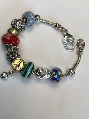 Vintage Gorgeous Large Hole Glass Beaded European Charm Bracelet Peace Love
