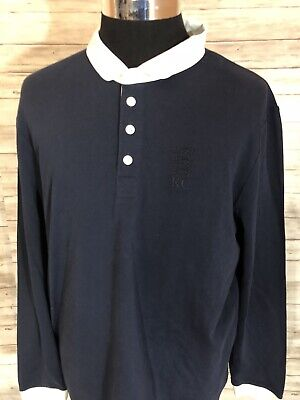 NEW! Kent & Curwen England Men L/S Polo Rugby Shirt XLarge XL Navy Blue N119