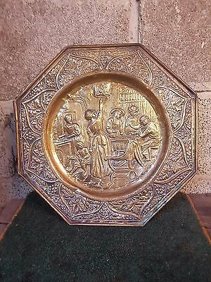 Vintage Victorian Brass Embossed Inn or Family Scene Wall Plaque