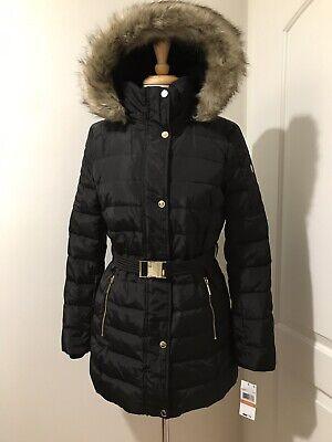 Michael Kors Jacket Coat Puffer Down Hood Faux Fur Belted Black S $280 ()