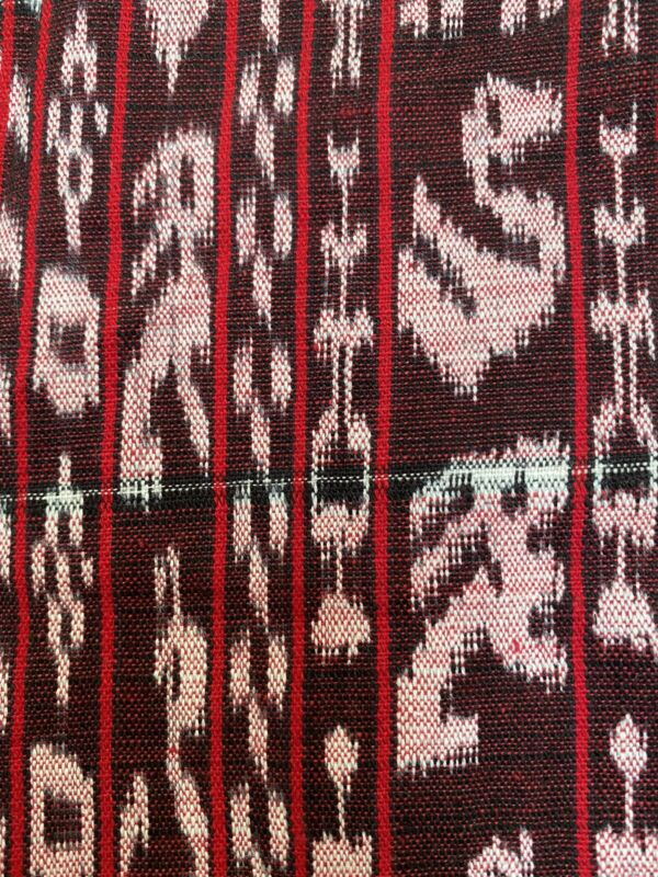 Guatemalan vintage Ikat White Animals + People of Red And Black Fabric