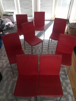 8 Red Dining Room Chairs