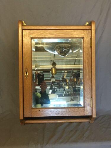 Antique Oak Surface Mount Medicine Cabinet Cupboard Towel Bar Vtg Old 591-18E