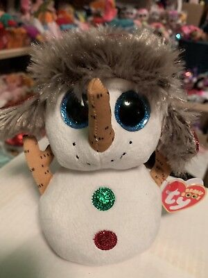 """Ty BUTTONS -White w/Red Glittery Hat, Holiday Snowman 6"""" Beanie Boo! *NEW*"""
