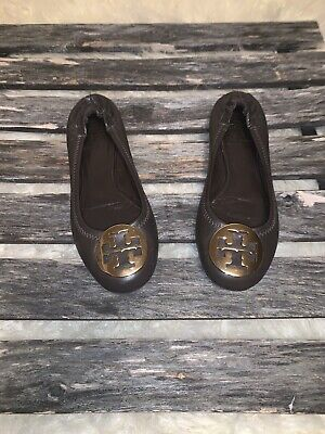 Tory Burch Reva Ballet Chocolate Brown Leather Flats - Gold Logo Size 6