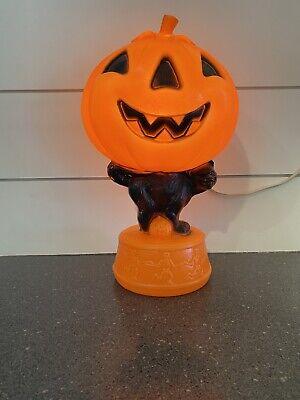 Vintage Halloween Pumpkin Black Cat Dancing Skeletons Blow Mold Light w/cord